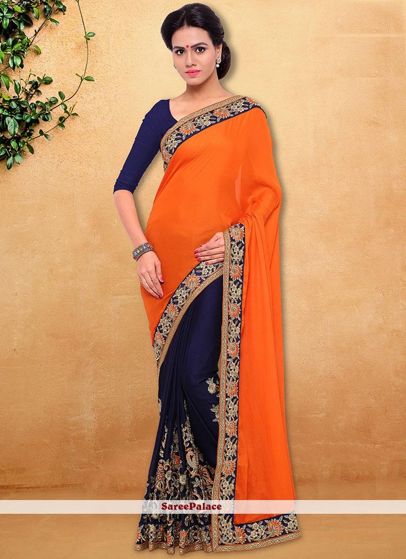 Beautiful Satin Navy Blue and Orange Designer Half N Half Saree