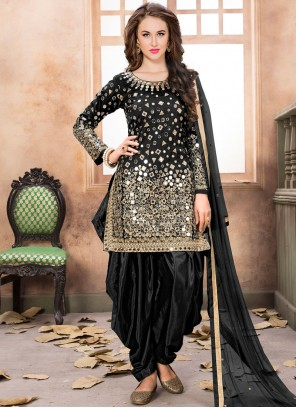 Beautiful Tafeta silk Black Lace Work Designer Patiala Suit