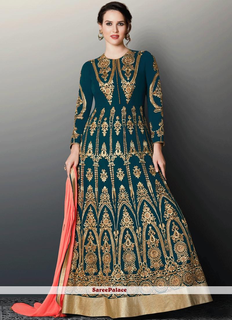 Beautiful Zari Work Floor Length Anarkali Suit