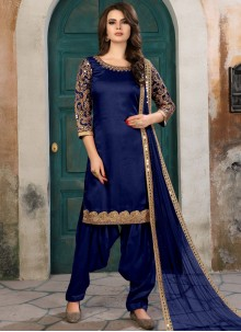 Beckoning Art Silk Navy Blue Salwar Kameez
