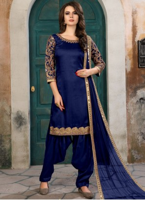 Beckoning Art Silk Navy Blue Salwar Kameez