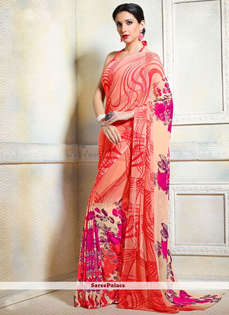 Beckoning Faux Georgette Multi Colour Print Work Printed Saree