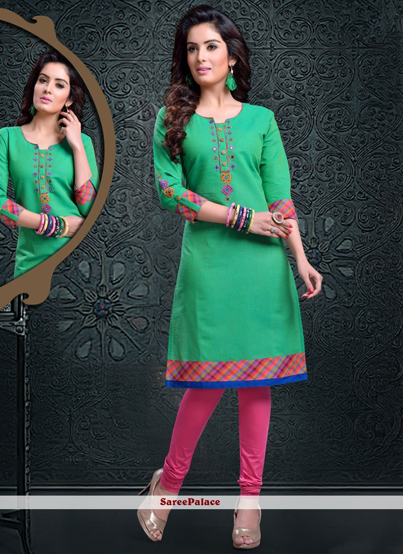 Bedazzling Cotton   Sea Green Party Wear Kurti