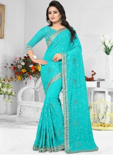 Bedazzling Embroidered Work Faux Georgette Classic Designer Saree