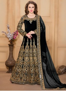 Bedazzling Embroidered Work Tafeta silk Designer Floor Length Suit