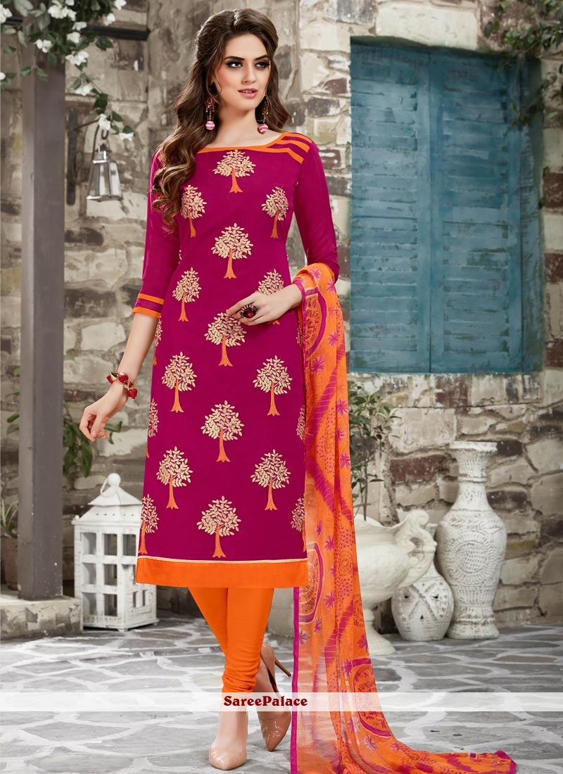 Bedazzling Hot Pink Print Work Chanderi Cotton Churidar Suit