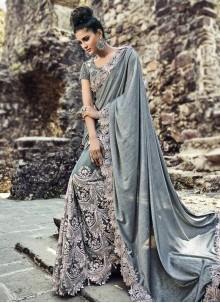 Bedazzling Net Grey Classic Designer Saree