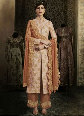 Bedazzling Resham Work Peach Art Silk Designer Suit