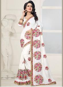 Bedazzling Silk Off White Designer Saree