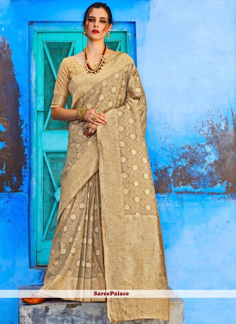 Beige Abstract Print Classic Saree