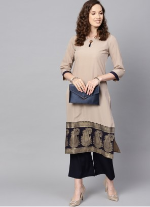 Beige Abstract Print Faux Crepe Casual Kurti
