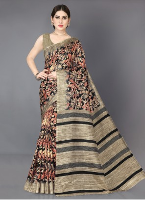 Beige and Black Printed Cotton Silk Bollywood Saree