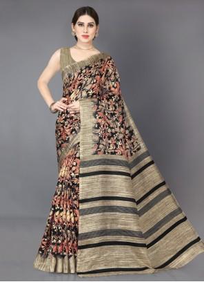 Beige and Black Printed Khadi Silk Bollywood Saree