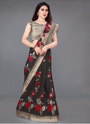 Beige and Black Printed Trendy Saree