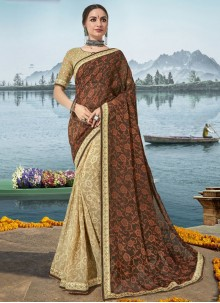 Beige and Brown Festival Classic Saree