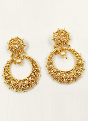 Beige and Gold Color Ear Rings