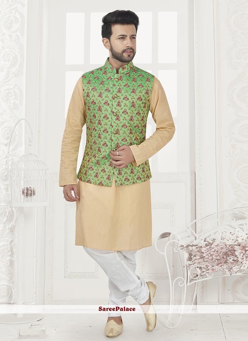 Beige and Green Art Silk Kurta Payjama With Jacket