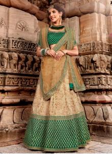 Beige and Green Embroidered Handloom silk Bollywood Lehenga Choli