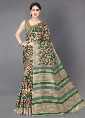 Beige and Green Khadi Silk Casual Saree