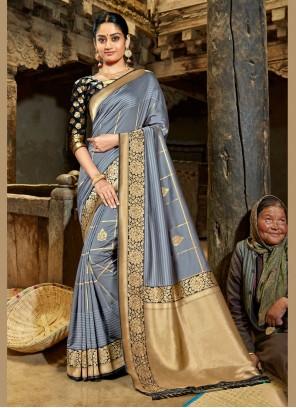 Beige and Grey Banarasi Silk Classic Designer Saree