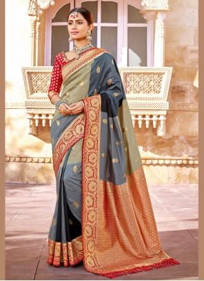 Beige and Grey Banarasi Silk Designer Saree