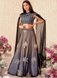 Beige and Grey Thread Work Trendy Designer Lehenga Choli