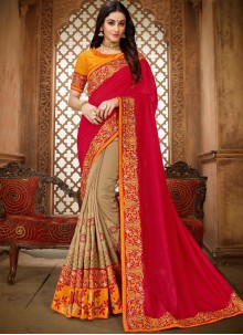 Beige and Hot Pink Art Silk Ceremonial Classic Saree
