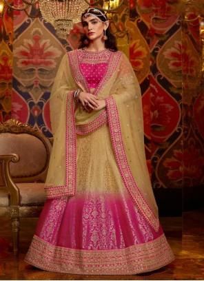 Beige and Hot Pink Color Lehenga Choli