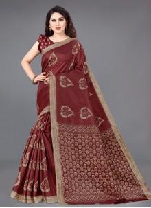 Beige and Maroon Khadi Silk Traditional Saree