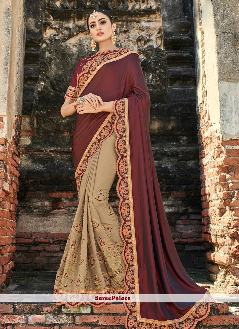 Beige and Maroon Resham Art Silk Half N Half  Saree