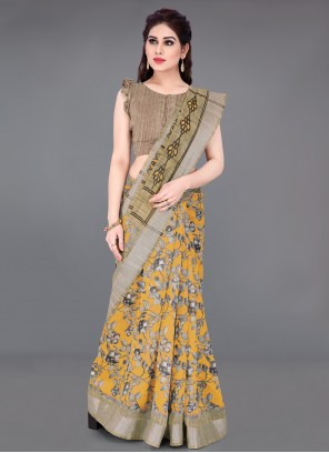 Beige and Mustard Cotton Printed Printed Saree