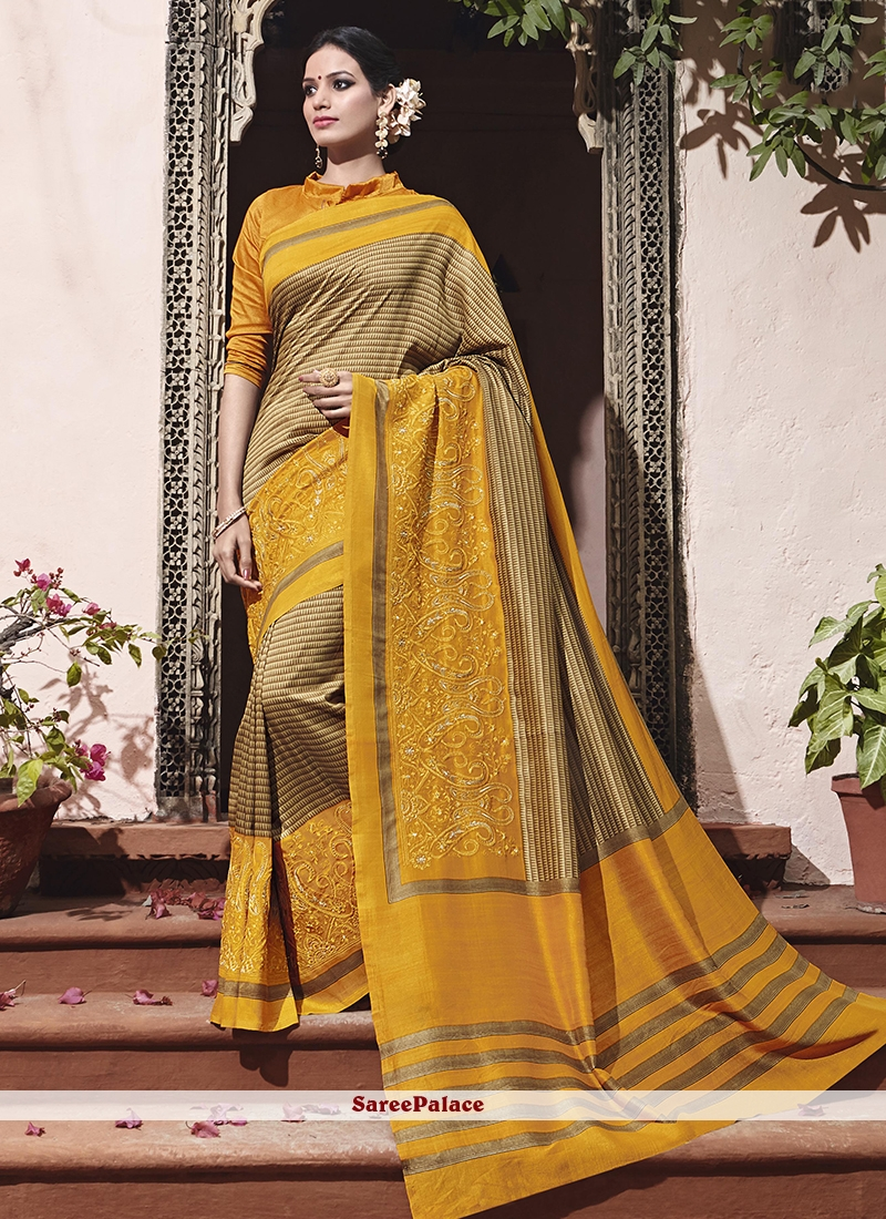 Beige and Mustard Embroidered Work Art Silk Traditional  Saree