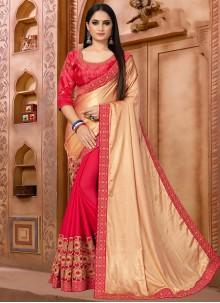 Beige and Pink Color Half N Half  Saree