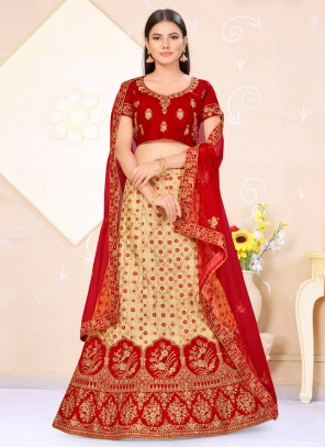 Beige and Red Banarasi Silk Weaving Lehenga Choli