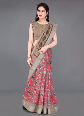 Beige and Red Cotton Printed Printed Saree