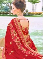 Beige and Red Embroidered Satin Silk Designer Half N Half Saree