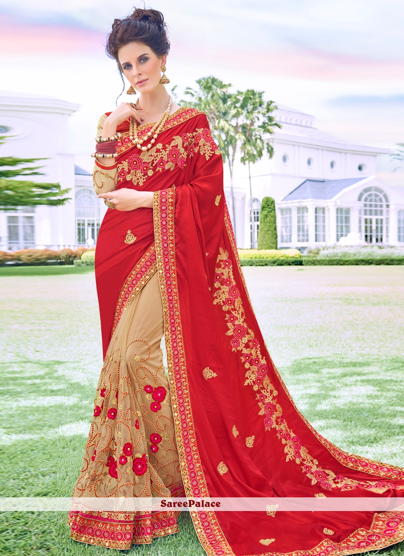 Beige and Red Embroidered Satin Silk Designer Half N Half Saree
