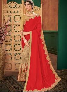 Beige and Red Festival Half N Half  Saree