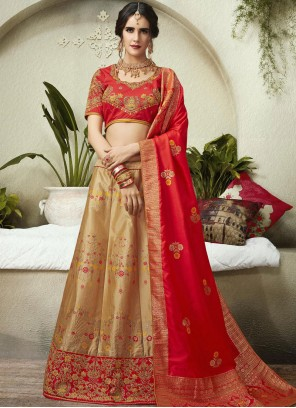 Beige and Red Patch Border Lehenga Choli