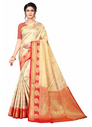 Beige and Red Weaving Festival Traditional Saree
