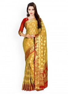 Beige and Red Weaving Work Classic Saree