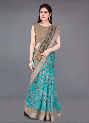 Beige and Turquoise Cotton Printed Saree