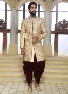 Beige Art Raw Silk Handwork Sherwani