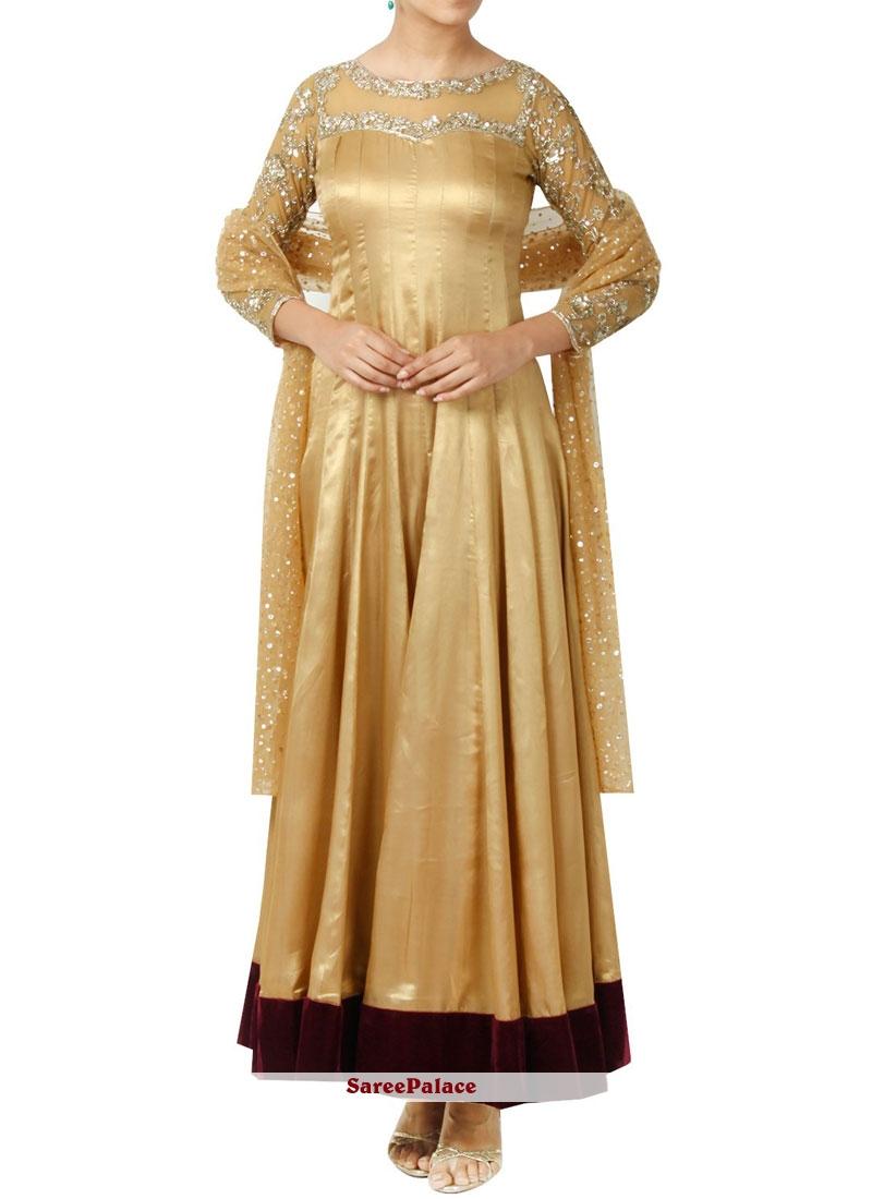 Beige Art Silk Anarkali Suit