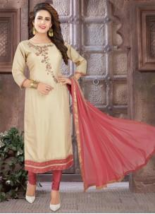 Beige Art Silk Embroidered Bollywood Salwar Kameez