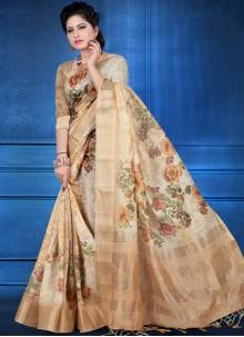 Beige Art Silk Festival Printed Saree