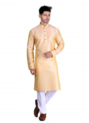 Beige Art Silk Plain Kurta Pajama