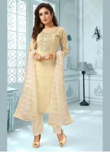 Beige Art Silk Salwar Kameez