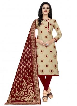Beige Banarasi Silk Churidar Designer Suit