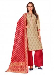 Beige Banarasi Silk Jacquard Work Designer Palazzo Salwar Kameez